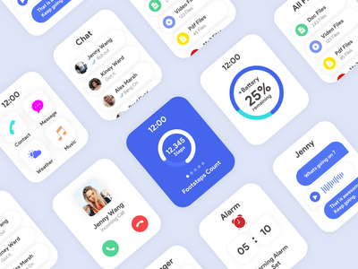 APPLE WATCH OS simple minimal concept design uidesign uxdesign file manager chatbot battery smartwatch call design clean branding watchos
