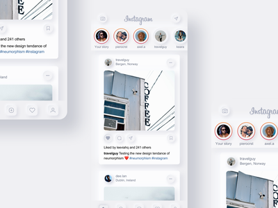 Instagram Neumorphism Redesign neumorphism neomorphism ui ux mobile design mobile insta branding redesign instagram ux design ux ui design ui design