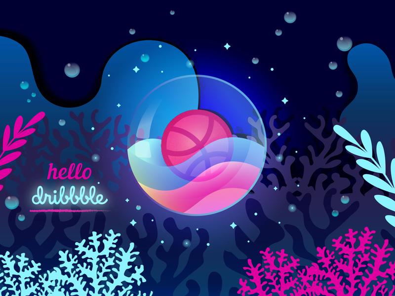 Hello dribbble hello dribble dribbble vector design ocean illustrator debut vector ux logo illustration