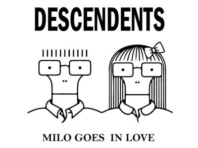 Descendents black and white logo illustration typography line punk
