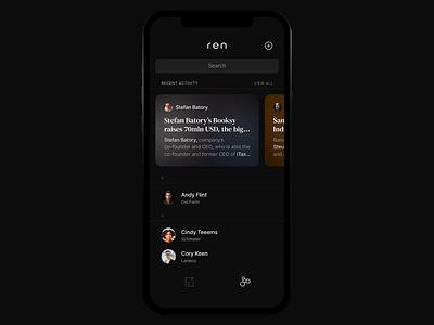 Ren - Interaction Design dialog ios smooth fluid swipe contact message alert chat dark mockup animation design ui animation interaction design 3d animation interaction ux ui dark ui