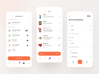 Groceries - Cart & Shopping List shopping app modern minimal ios food and drink grocery store food app cart create list compose apple fruit vegetables shopping shopping list grocery list food grocery groceries