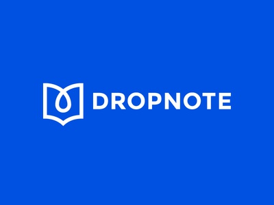 Dropnote Final logo design app blue fresh open book note drop mark symbol identity logo