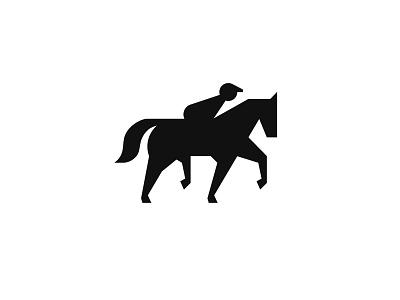 Racing Horse Logo Design club sport icon minimal identity branding running jockey animal logo racing horse