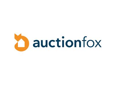 Auction Fox Logo Design building property information service real estate home negative space fox auction identity branding logo