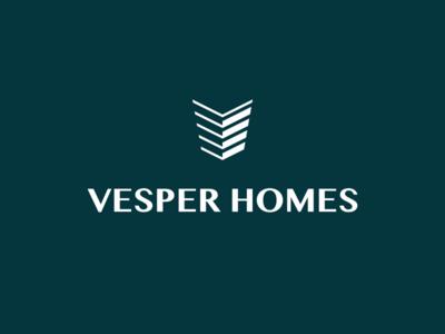 Vesper Homes - Logo Design v building house property sales london online agent real estate home identity logo