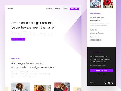 Shopco - Landing page product influencer purple mobile desktop shop ux ui landing page web