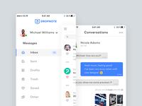 Dropnote - Mobile Side Menu & Conversations