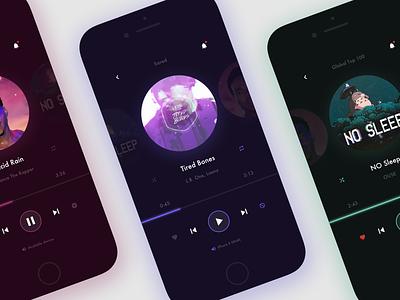 Music Player play track album ux sketch ios app app ui player music