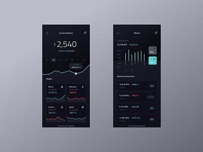 Cryptocurrency Wallet - UI Design netguru minimal balance wallet graph statistics data dark blockchain bitcoin design app ui crypto currency crypto wallet crypto app