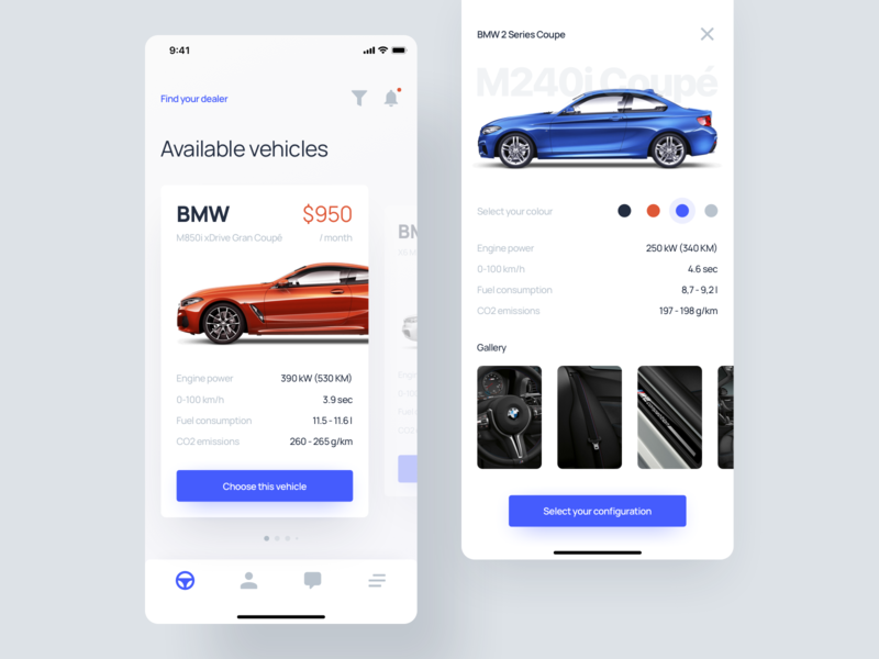 Car App - User Interface modern simple auto moto application luxury cards automotive rental rent bmw ux ui app car