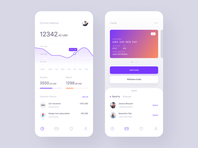 Finance App fintech figma withdraw income payment navigation cash send credit money graph balance manage funds credit card mobile app finance ux ui