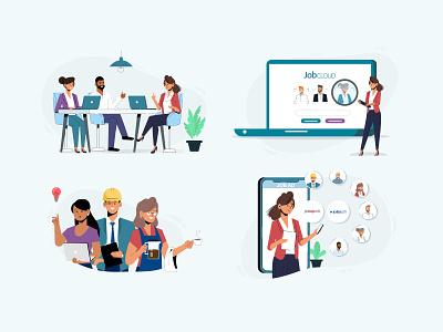 JobCloud Illustrations job board recruitment hr design art art direction artwork art illustrator illustraion web design