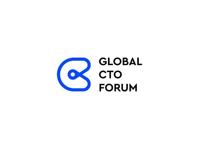 Global CTO Forum Logo minimal modern typography website marketing graphic design global business company logo design design branding logo forum officer technology chief cto