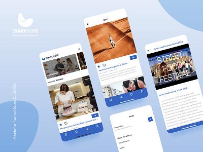 Zimmerstund App activity user interface user experience ui design ux design ux ui cocktail drink food zurich sport design app news events event gastronomy gastro