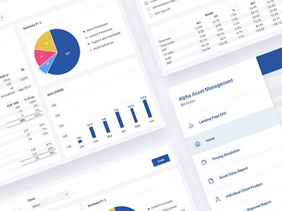 Axis - Reports, CFO Landing, Menu Pages chart statistics ios tablet ipad table data visulization ux ui design