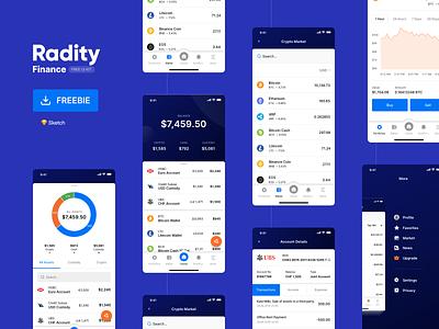 Radity Finance UI Kit - Free wallet crypto cryptocurrency data mobile app finance free freebie ui kit ux ui