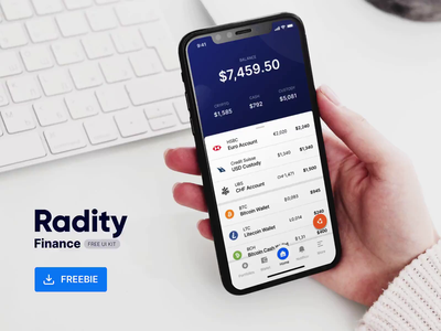 Radity Finance UI Kit - Free fintech chart data visulization free freebie cryptocurrency wallet banking data design ios app animation ui kit ux finance ui