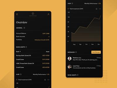 Helvetican Robo Mobile Dashboard user experience user interface ux ui dark ui table stats app chart finance responsive design mobile responsive