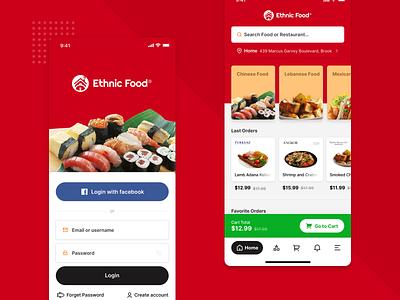 Ethnic Food - Login & Homepage card app login app design application delivery design ethnic food delivery modern ui ux ui design ux design
