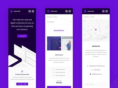 Startup Box Mobile illustration brand ux design ui design responsive mobile design startup ux ui