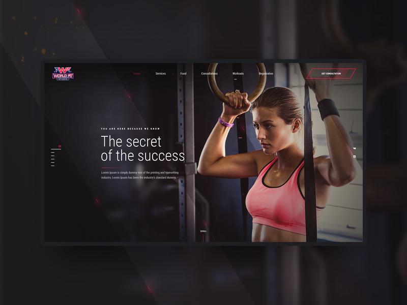 WFS - World Fit Studio preview shot workout training fitness creative fullscreen concept uiux website web-design web-mosaica