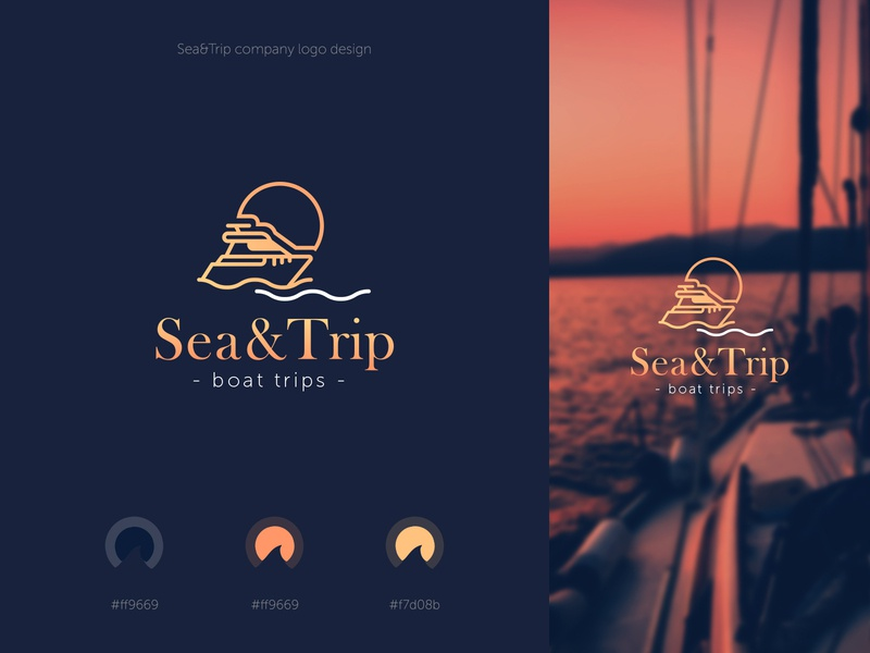 Logo Design logodesign boat boating trip sea dark logo vector preview design minimalism creative concept web-design web-mosaica