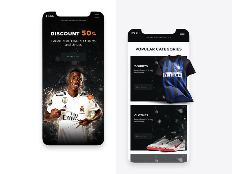 Football Merchandise Store football online store responsive design mobile design preview design creative concept uiux web-design web-mosaica
