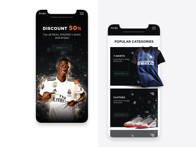 Football Merchandise Store football online store responsive design mobile design preview design creative concept uiux web-design web-mosaica