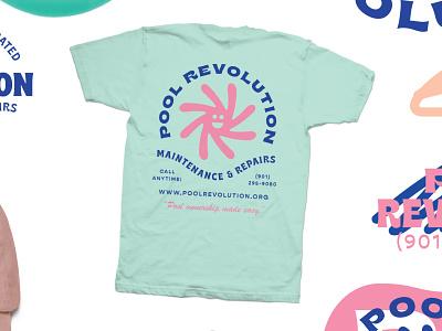 Pool Revolution tee shirt shirt badge logo type illustration