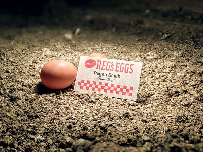 Aunt Reg's Eggs biz card badge lettering logo type illustration business card