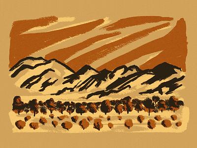 Santa Catalinas painting landscape gouache illustration mountains