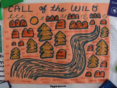 call of the wild analog kids river mountains trees forest crayola marker illustration