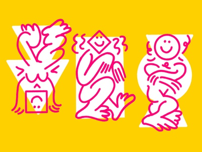 figure study poses yoga branding art cartoons characters keith haring linework illustration