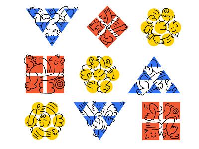 more figure studies linework design brand art weird keith haring branding illustration