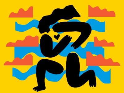 yoga posing collage papercut pose keith haring art illustration design character study yoga