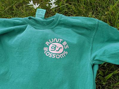 Aunt B's Blossoms shirt icon branding design lettering badge linework logo type illustration merchandise shirt merch