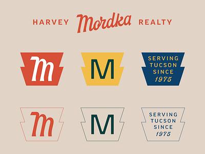 Mordka Realty badges custom script identity brand icon branding design lettering badge linework type logo illustration