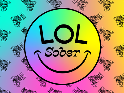 LOL Sober identity social media avatar sobriety gradient vector design badge lettering linework type logo illustration branding