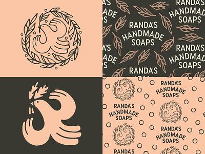 Randa's Bird brand soap pattern badge script logo linework bird design identity branding