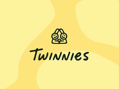 Twinnies wordmark icon illustration design sandwich pbj beverage food font lettering typography custom type handwriting logo branding identity brand wordmark