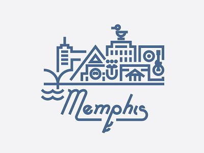 Memphis city buildings illustration skyline linework mississippi river beale street sun studios peabody hotel ducks b.b. king pyramid graceland elvis blues