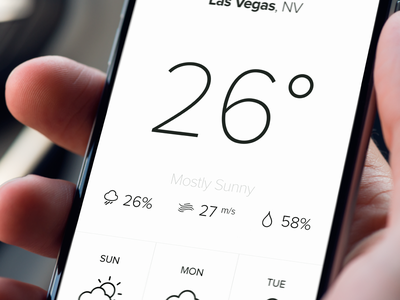 [iOS] Weather app Design photoshop clean elegant forecast icons weather iphone mobile app ios swiss minimalistic