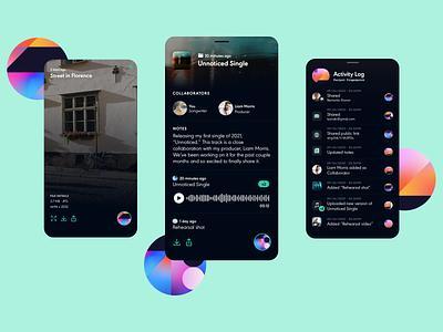 Blockchain Creator App - Project Fingerprint app design mobile app blockchain artist music design ui
