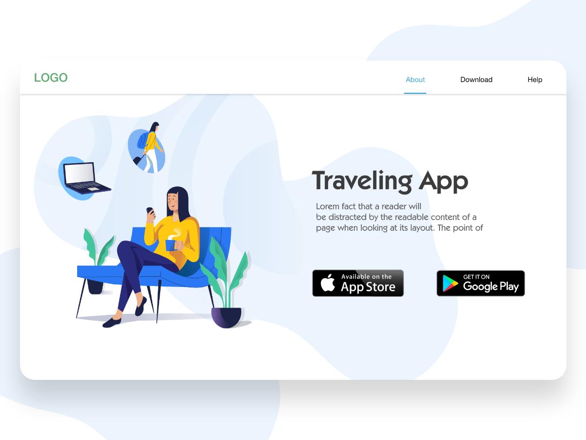 Traveling App app promotion illustration