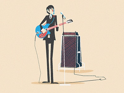 Hey Jude illustration beatles john lennon amp guitar suit band microphone hair 60s
