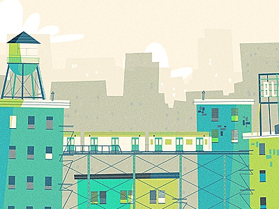 NYC illustration skyline new york city nyc water tower building train billboard window fire escape