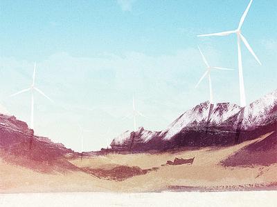 Windmills illustration cd artwork music mountains snow grass texture