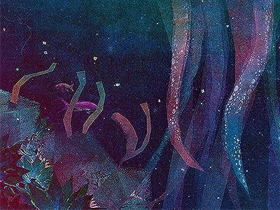 Suckers illustration jelly suckers water coral city mountain stars space life