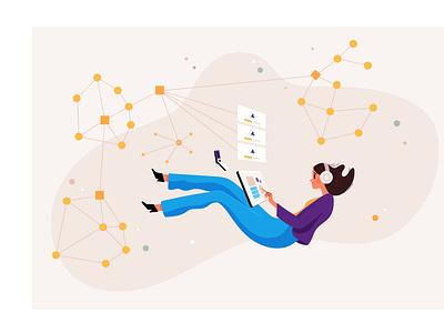 Blockchain tech woman cryptocurrency bitcoin blockchain crypto illustration